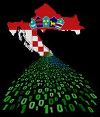 Croatia map flag with binary foreground illustration