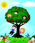 Cartoon children playing in an apple tree
