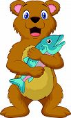 Cute bear cartoon holding salmon fish