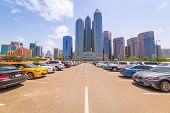 ABU DHABI, UAE - MARCH 27: Cityscape of Abu Dhabi on March 27, 2014, UAE. Abu Dhabi is the capital a