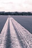 Worms Eye Vintage Shoot Of A Road Marking On An Airstrip