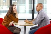 stock photo of boring  - Interracial date that is boring and un - JPG