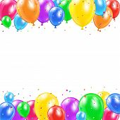 picture of confetti  - Set of colored balloons and confetti in the form of star flying on white background - JPG