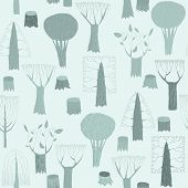 Trees Seamless Pattern Tapestry In Blue