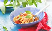 Spaghetti With Calamary Tomatoes And Basil
