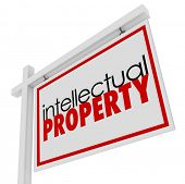 Intellectual Property Words For Sale Sign Licensed Copyrighted Products