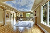 picture of floor covering  - Empty living room with glass ceiling and columns - JPG