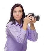 Attractive Mixed Race Young woman With DSLR Camera Isolated on a White Background.