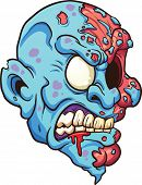 Cartoon zombie head. Vector clip art illustration with simple gradients. All in a single layer.