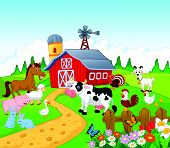 stock photo of barn house  - Vector illustration of Cartoon Farm background with animals - JPG