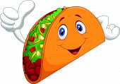 stock photo of tacos  - Vector illustration of Taco cartoon giving thumb up - JPG