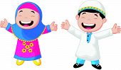 stock photo of humble  - Vector illustration of Happy Muslim kid cartoon - JPG