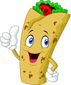 pic of enchiladas  - Vector illustration of Burrito cartoon character giving thumbs up - JPG