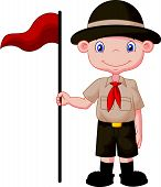 pic of boy scout  - Vector illustration of Cartoon boy scout holding red flag - JPG