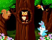 image of rabbit hole  - Vector illustration of Animal cartoon in the forest - JPG