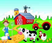 pic of barn house  - Vector illustration of Farmer cartoon working in the farm - JPG