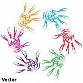 Vector concept or conceptual human child abstract colorful paint hand print circle symbol isolated o