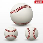 image of softball  - Vector illustration of realistic Set of baseball leather ball - JPG