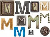 image of letter m  - Alphabet made of wood - JPG