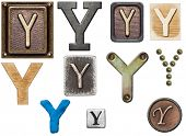Alphabet made of wood, metal, plasticine. Letter Y