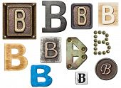 Alphabet made of wood, metal, plasticine. Letter B