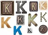 Alphabet made of wood, metal, plasticine. Letter K