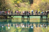Tourists Jiuzhaigou National Park China