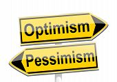 Yellow Directional Arrows With The Words Optimism And Pessimism