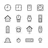 Clock And Time Symbol Line Icon Set. Vector