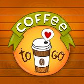 Cartoon coffee badge. coffee vector illustration
