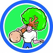 picture of arborist  - Illustration of gardener arborist tree surgeon carrying a tree viewed from front on isolated white background done in cartoon style set inside circle - JPG
