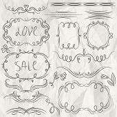 Floral Decorative Borders, Ornamental Rules, Dividers, Frame, Vector