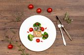 Plate With Dish Of Lamb With Tomatoes