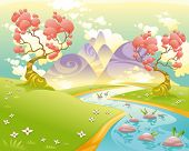 Mythological landscape with river. Cartoon and vector illustration.