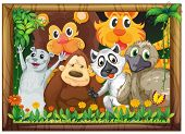 Illustration of a wooden frame with animals on a white background