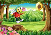 Illustration of a happy bee at the forest