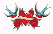 stock photo of swallow  - heart tattoo emblem with swallows - JPG