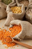 Hessian Bags With Red Lentils, Peas, Chick Peas, Wheat And Green Mung