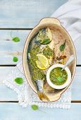 Baked Dorado Fish  With Pesto Sauce