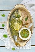 picture of sorrel  - baked dorado fish with sorrel pesto sauce - JPG