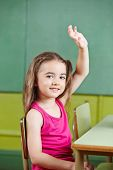 Smiling girl raising her hand in elementary school class