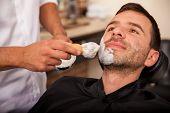 Putting Shaving Cream On