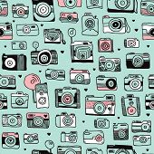 Seamless hipster toy camera illustration background pattern in vector