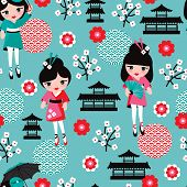 stock photo of japan girl  - Seamless japan geisha sushi girl kids illustration background pattern in vector - JPG
