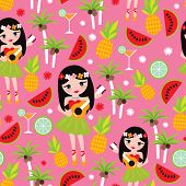 stock photo of hawaiian girl  - Seamless colorful kids exotic hawaii hula girl illustration background pattern in vector - JPG