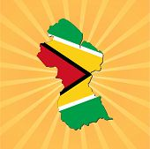 Guyana map flag on sunburst vector illustration