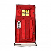 cartoon old wood door