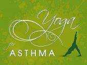 stock photo of asthma  - World Asthma Day concept with illustration of a yoga pose and stylish text on green background - JPG