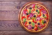 stock photo of pepper  - Pizza with ham - JPG