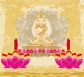 picture of wesak day  - Lotus Oil Lamp with Buddha card  - JPG